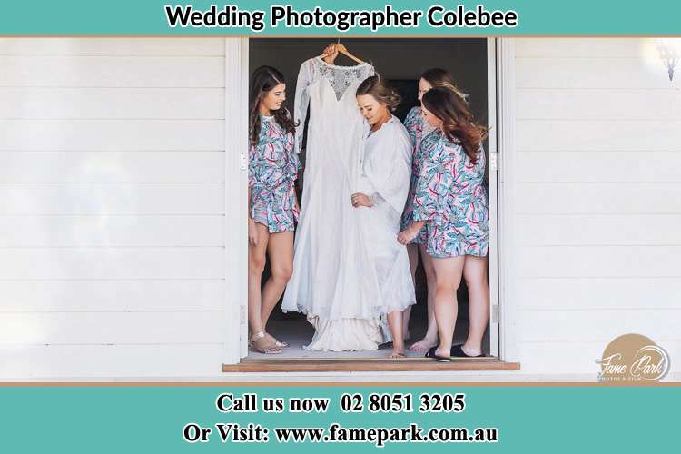 Photo of the Bride and the bridesmaids checking the bridal gown at the front door Colebee NSW 2761
