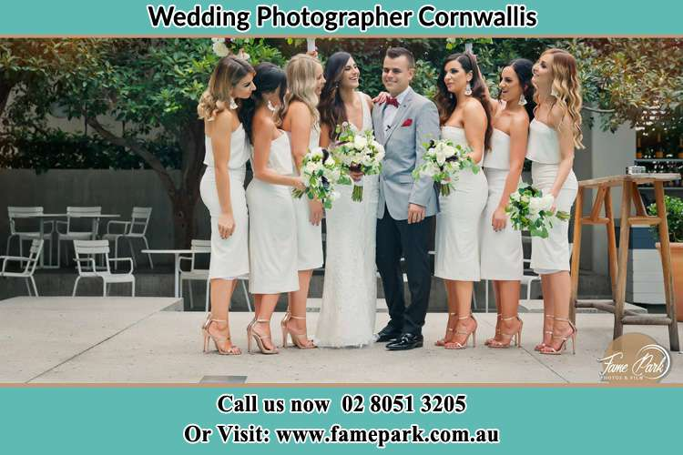 Photo of the Bride and the Groom with the bridesmaids Cornwallis NSW 2756