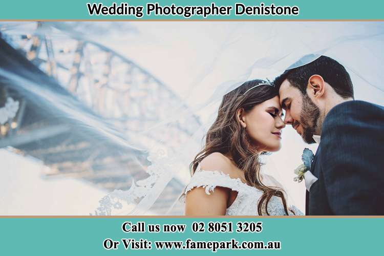 Close up photo of the Bride and the Groom under the bridge Denistone NSW 2114