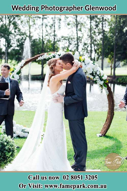Photo of the Bride and the Groom kissing Glenwood NSW 2768