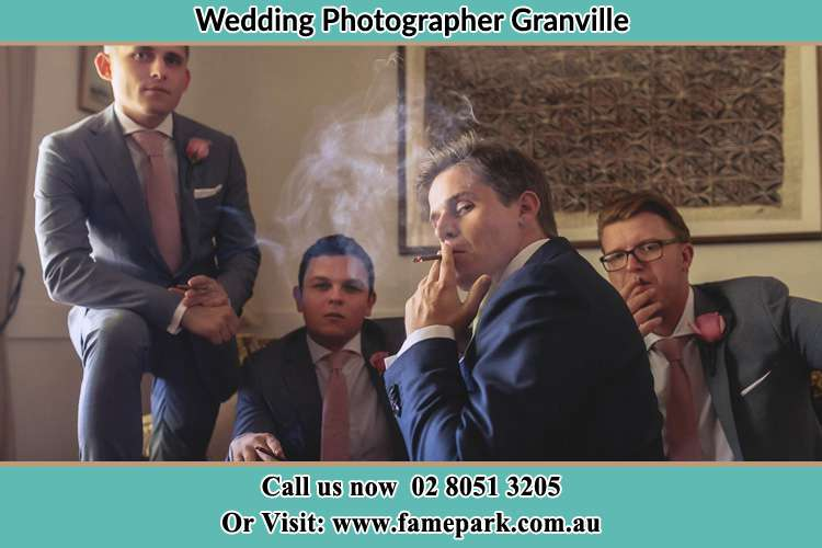 Photo of the Groom and the groomsmen relaxing Granville NSW 2142