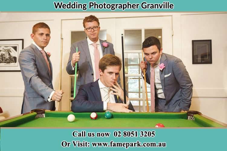 Photo of the Groom and the groomsmen playing billiard Granville NSW 2142