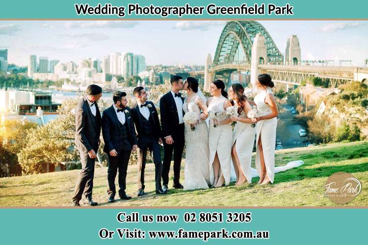 Photo of the Groom and the Bride with the entourage near the bridge Greenfield Park NSW 2176