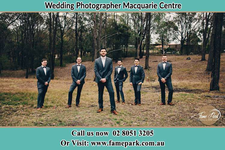 Photo of the Groom and the groomsmen Macquarie Centre NSW 2113