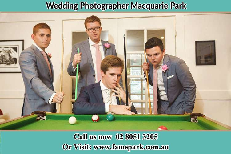 Photo of the Groom and the groomsmen playing billiard Macquarie Park NSW 2113