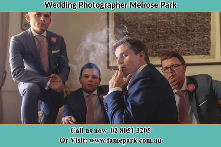 Photo of the Groom and the groomsmen relaxing Melrose Park NSW 2114