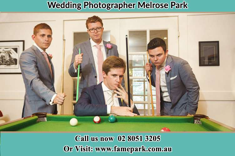 Photo of the Groom and the groomsmen playing billiard Melrose Park NSW 2114