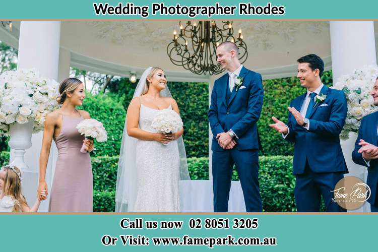 Photo of the Groom and the Bride with the entourage Rhodes NSW 2138