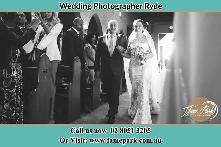 Photo of the Bride with her father walking the aisle Ryde NSW 2112
