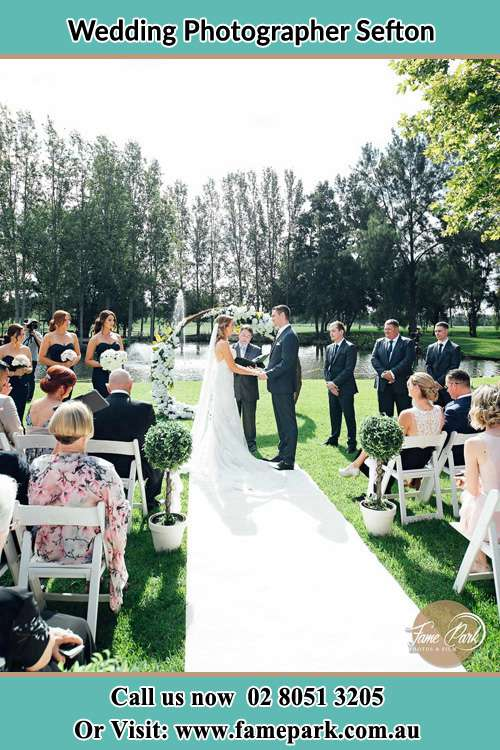 Garden wedding ceremony photo Sefton NSW 2162