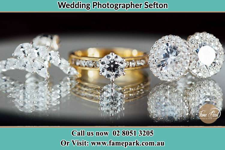 Photo of the Bride's cliff, ring and earrings Sefton NSW 2162