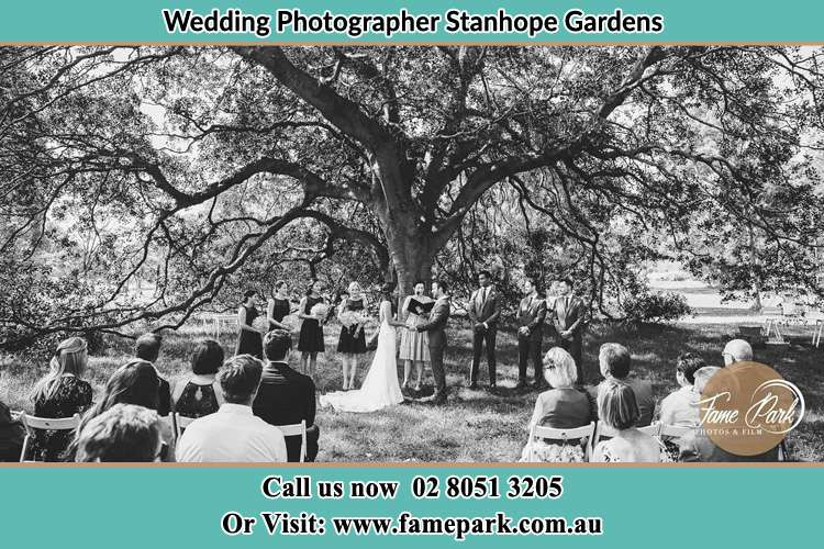 Wedding ceremony under the big tree photo Stanhope Gardens NSW 2768