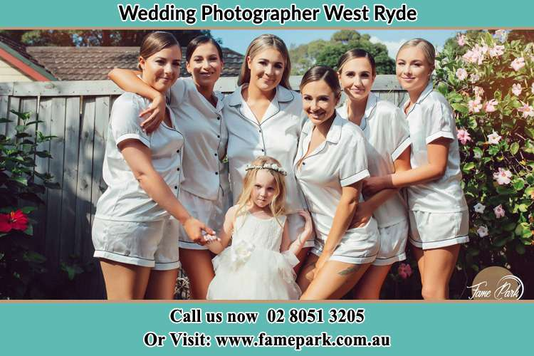 Photo of the Bride and the bridesmaids with the flower girl West Ryde NSW 2114